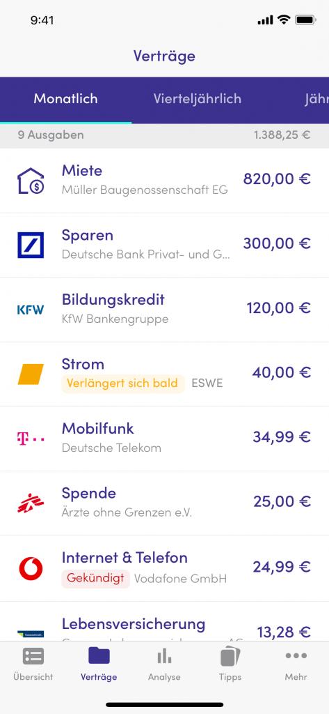 Screenshot App Finanzguru Verträge_Finanzguru Test