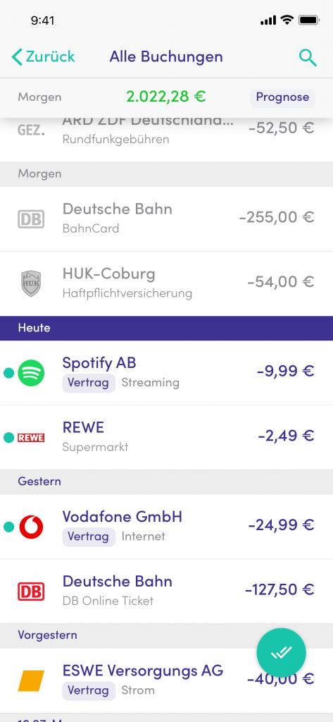 Timeline_Screenshot_Finanzguru Test Erfahrungsbericht