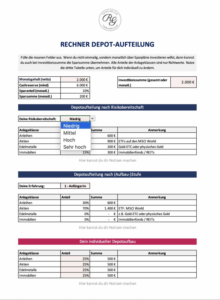 Rechner Depotaufbau Aufteilung