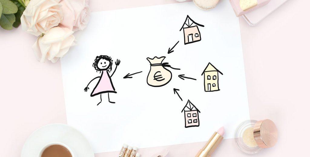 Skizze-Immobilien als Altersvorsorge Frauen