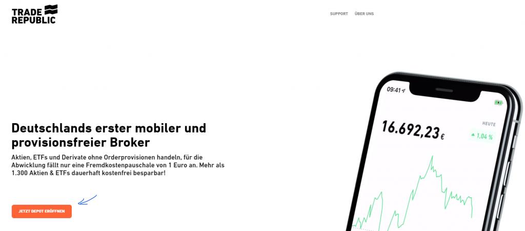 Trade Republic Depot eröffnen - Screenshot Webseite